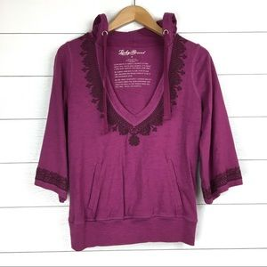 Lucky Brand Deep V Neck Embroidered Hooded Top